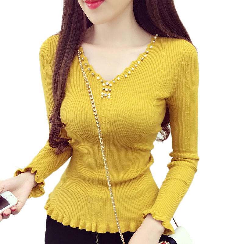 Spring Autumn Women Sweater 2019 New Fashion Beading V-neck Knitted Tops Solid Slim Elasticity Knit Pullover Sweater Female Y87