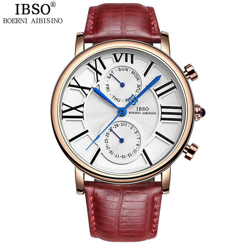 IBSO Brand Woman Watches 2018 Äkta Läder Rem Quartz Watch Kvinnor Kalendervecka Display 3ATM Vattentät Montre Femme