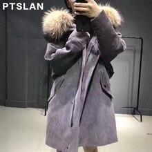 Ptslan 2017 Women s Real Raccoon Fur Collar Wool liner Genuine Sleeve Long Coat Parka
