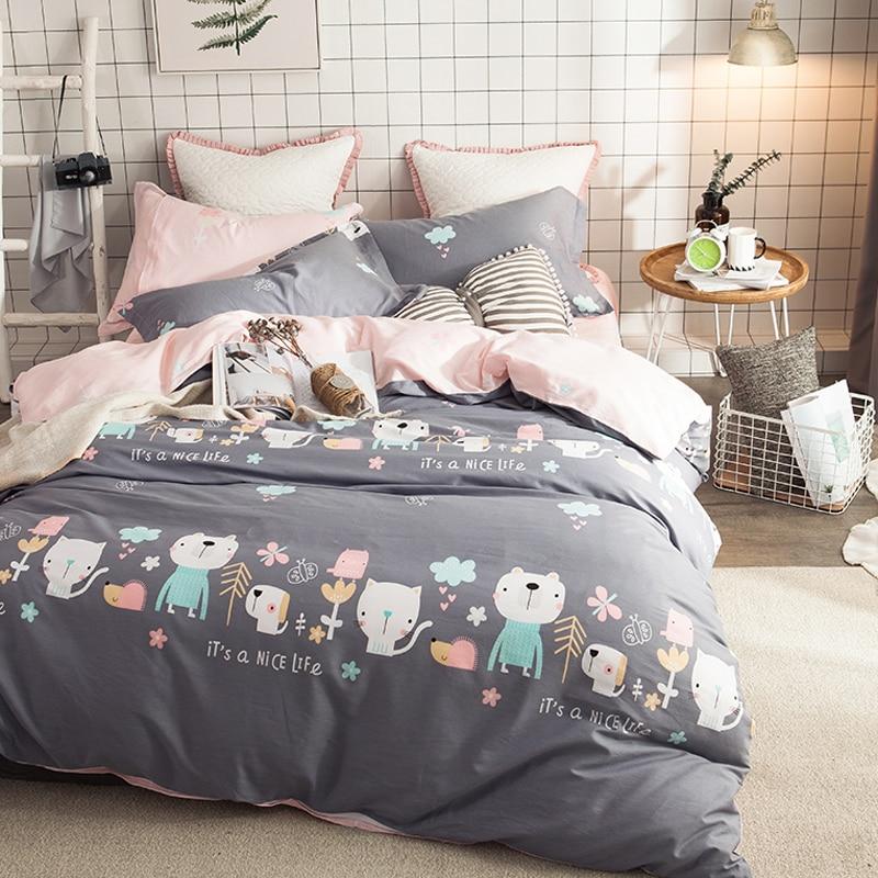 2019 Cats Dogs Animals Grey Bedding Set Cotton Fabric 4Pcs Queen Ru Europe Twin Size Duvet Cover Flat Sheet Pillow Cases