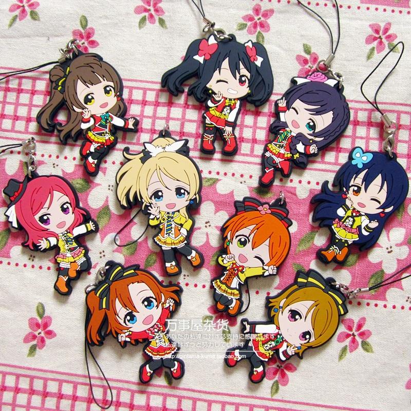 Kotori Nico Eli Rin Umi Maki Anime Love Live! Lovelive! Showing Version Rubber Keychain servamp anime vampire mahiru kuro snow lily jeje hyde food version japanese rubber keychain