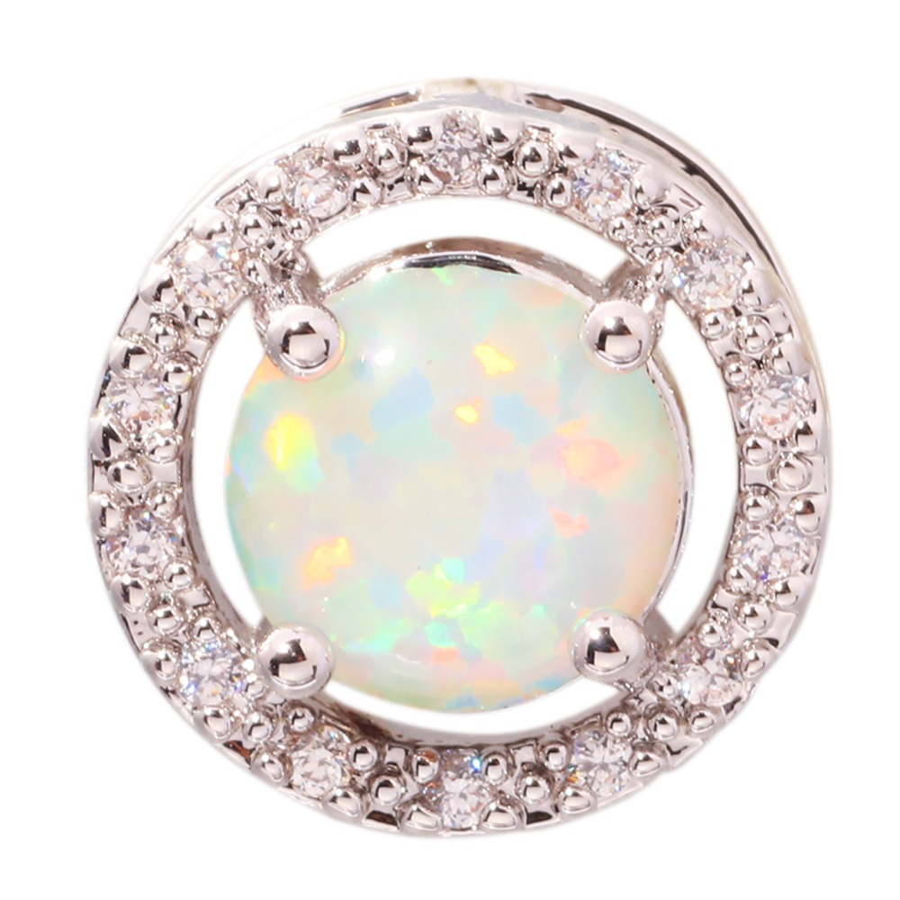 White Fire Opal Cubic Zirconia Silver Pendant Wholesale Retail Fashion Party For Women Jewelry Pendant 13mm