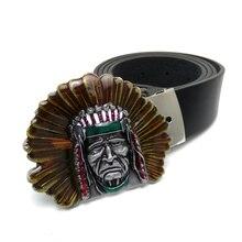 350677e6ea91 Mode Ceinture Occidentale avec le cowboy boucles Native American Indian  Boucles De Ceinture En Métal Noir pu en cuir Mâle ceintu.