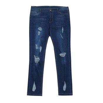 d70f954ec13 Seluar джинсы Wanita для женщин  Большие размеры рваные узкие джинсовые обтягивающие  джинсы штаны Высокая Талия Брюки Рваные джинсы Untuk Wanita