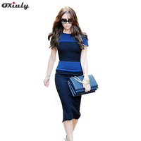Newest Hot Selling Women Fashion European Style Back Zipper Short Sleeved Stripe Splicing Pencil Bodycon Cocktail