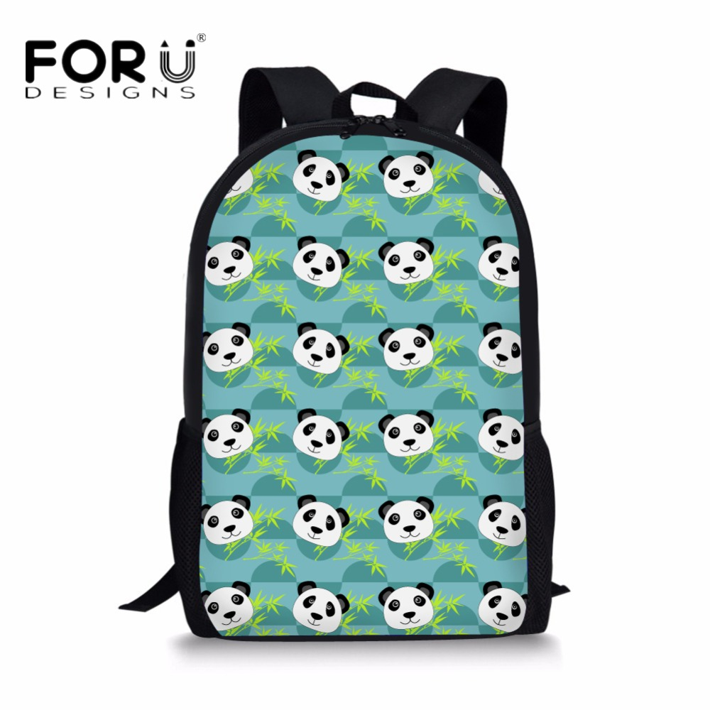 FORUDESIGNS Cute Panda School Bags Animal Print Canvas Backpack for Teens Girls Double Shoulder Bookbag Kids Daily Use Bagpack