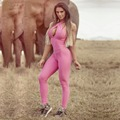 S-QVSIA Pink Overalls For Women Jumpsuit Big Size S-XL Halter Backless Strapless Slim Sexy Bodysuits 2016 Casual Playsuit