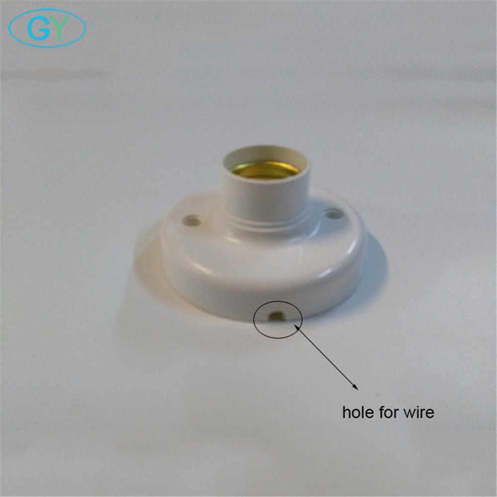 6 יח'\חבילה פלסטיק E27 בסיס עם חור חוט, בורג אור הנורה מנורת Socket מחזיק, לבן בסיס מנורת שקע, led אור הנורה