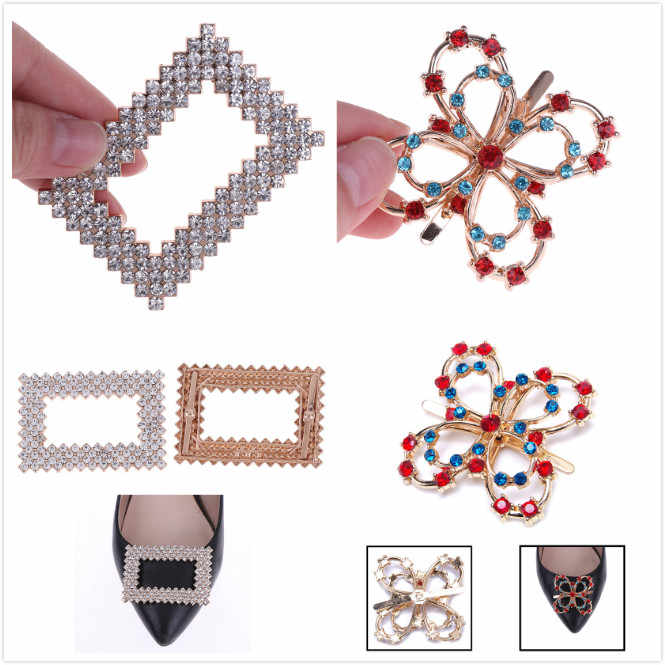 1Pcs Fashion Rhinestone Crystal Metal Shoes Clip Buckle Shoe Buckle Crystal Decorations Clips Women Shoe Charm Decorations