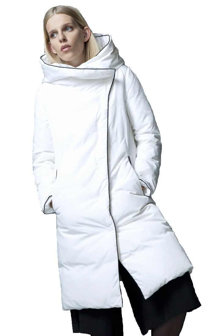 Высокое качество 2017 зимнее подиумное модное дизайнерское Короткое женское длинное пуховое пальто Женская белая пуховая куртка