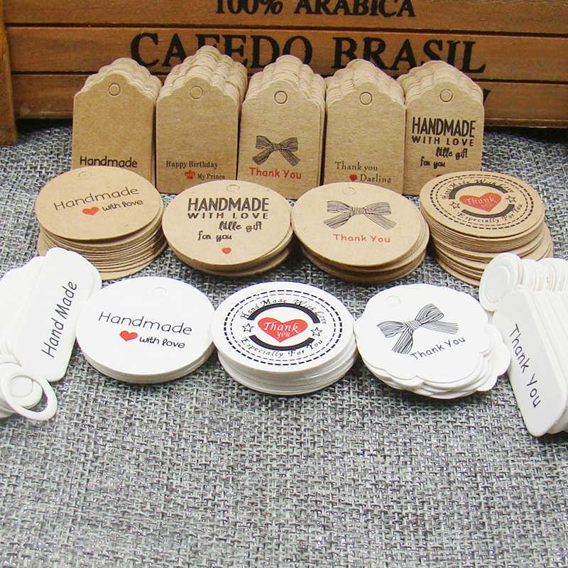 1,18 zoll 100 stücke kraftdruckpapier hand made tag mit liebe für DIY Geschenk box tag candy cupcake handmade bevorzugt name marke tag
