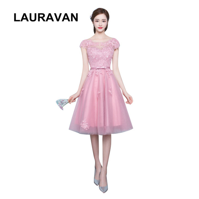 da06d6cf5566e US $55.2 5% OFF|elegance applique lace blush tulle sleeveless braidmaid  girls occassion dresses bridesmaids 2018 wedding guest free shipping-in ...