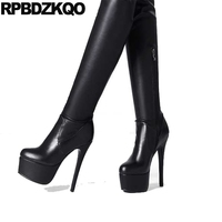 Platform High Quality Black Fashion Heel Knee Sexy Stiletto Over The Pointed Toe Extreme Slim Brand Women Winter Boots Genuine