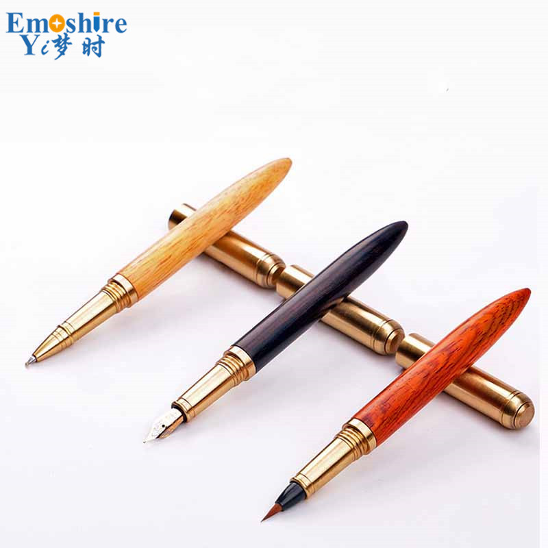 Fashion Brand Wood Roller Ball Pen Luxury Ballpoint Pen For Business Writing Gift Office School Supplies Free Shipping P470 jinhao rare golden double dragon pattern roller ball pen luxury stationery school office supplies brand writing gift pens