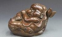 China Bronze kupfer Glück Feng shui lotus blume geben geburt Junge kind statue a5.19-in Statuen & Skulpturen aus Heim und Garten bei