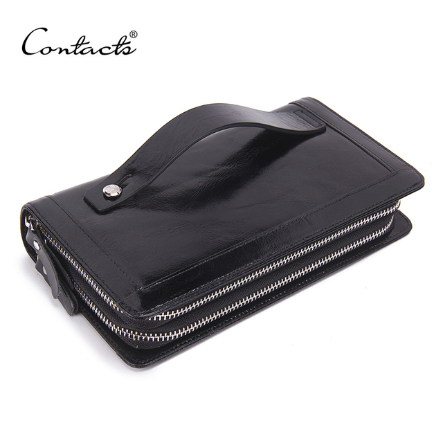 CONTACT'S Genuine Leather Clutch Bag Men Wallets Luxury Large Capacity For Male Double Zipper Wallet High Quality Handbag Purse