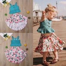 2pcs Kids Baby Girl Summer Skirt Sleeveless Tops+Floral Skirt Casual Dress Set цена