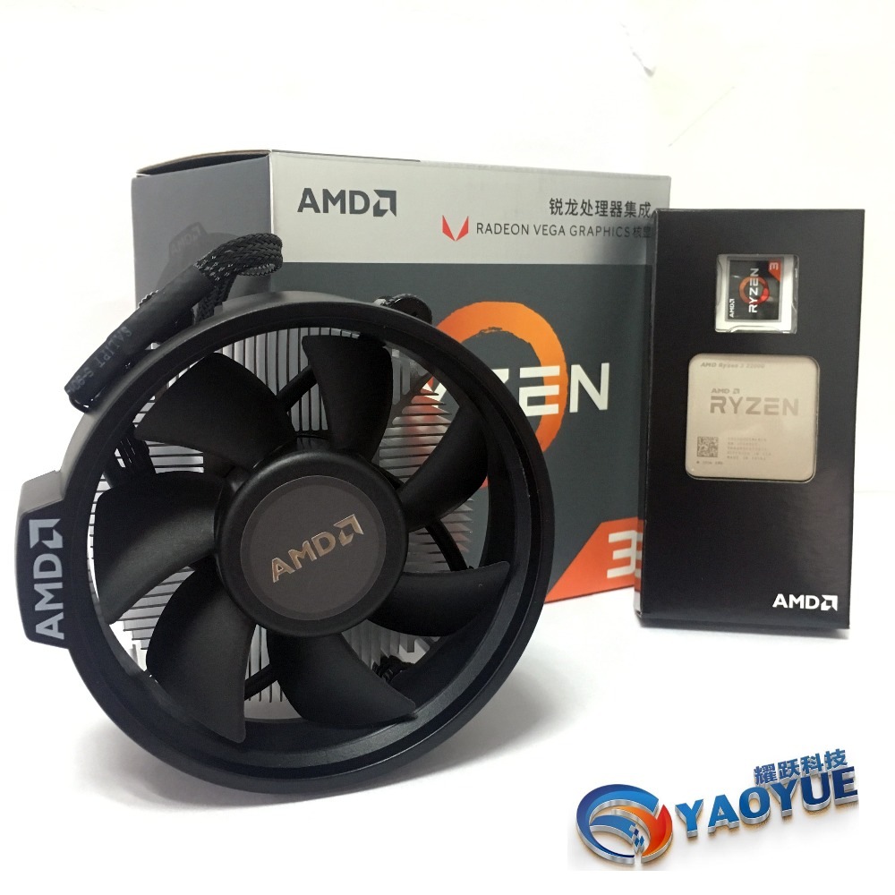 AMD <font><b>Ryzen</b></font> <font><b>3</b></font> <font><b>2200G</b></font> PC Computer Quad-Core processor AM4 Desktop Boxed CPU Contains cooler image