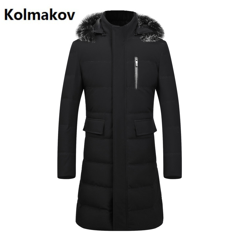 2017 winter men Long style Fox fur collar 90% White duck down down jacket mens classic Hooded winter jackets mens down coats