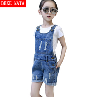 BEKE MATA Denim Overalls Pants 2017 Summer New Fashion Girls Jean Overall Kids Clothing Cotton Girl Jumpsuit Children Overalls