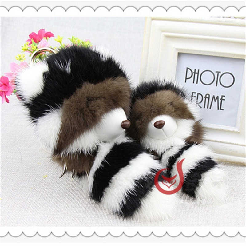 NEW Mink Fur Bear Girl Keychain Cute Key Chain Pom Pom Women Key Holder Bag цена