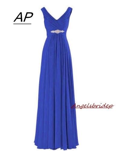 Angelsbridep Sexy Royal Blue Vestido Madrinha A Line Bridesmaid Dress 2019 V Neck Cap Shoulder Formal