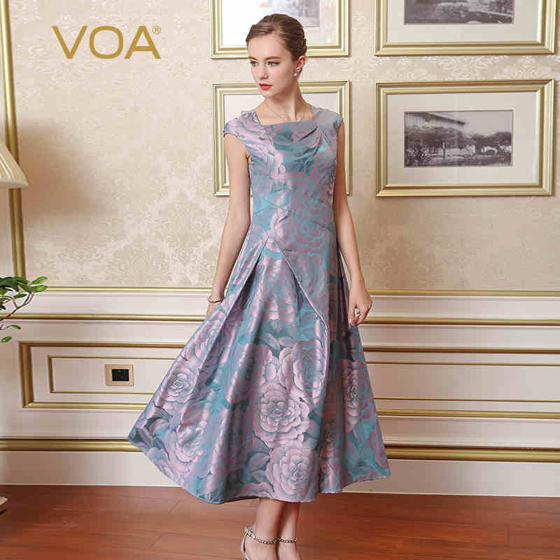 VOA Plus Size Silk Jacquard Print Vintage Lavender Purple Party Dress Sleeveless Floral Women Slim Maxi Long Dress Spring A7701
