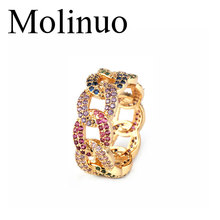 Molinuo New Multicolor cubic Zirconia Luxury chain Rings wedding engagement band trendy finger jewelry 2019