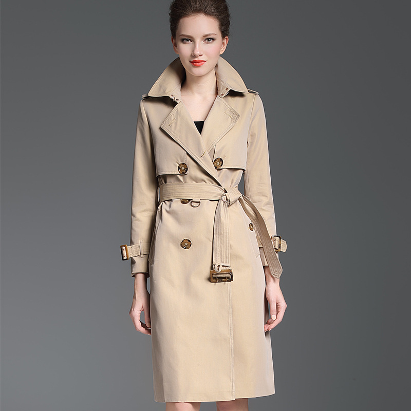 Qualité Longue Angleterre Femme pink Burdully Gray khaki Abrigo Hiver Haute Mujer Automne Luxe Double Trench 2018 Mode Boutonnage qAnEn7p