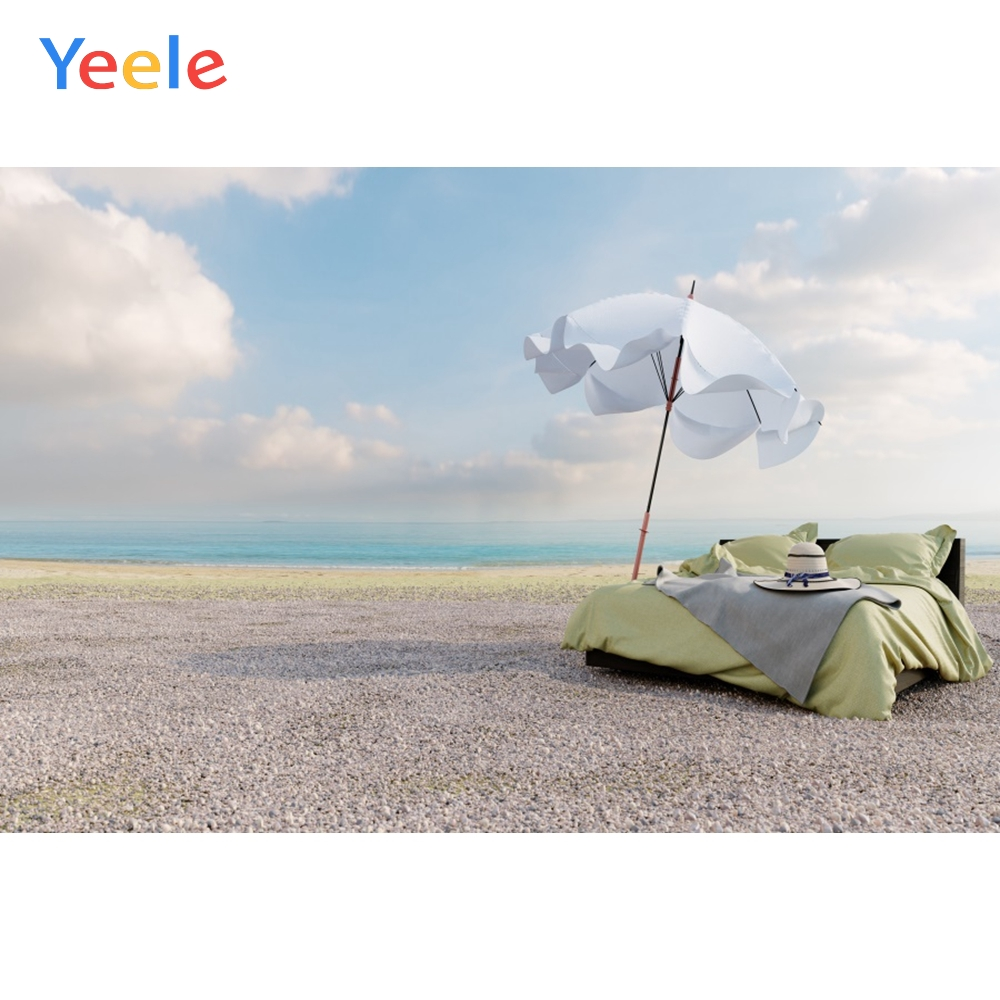 Yeele Blue Sky Clouds Sea Beach Parasol Bed Summer Photography Backgrounds Customized Photographic Backdrops For Photo Studio