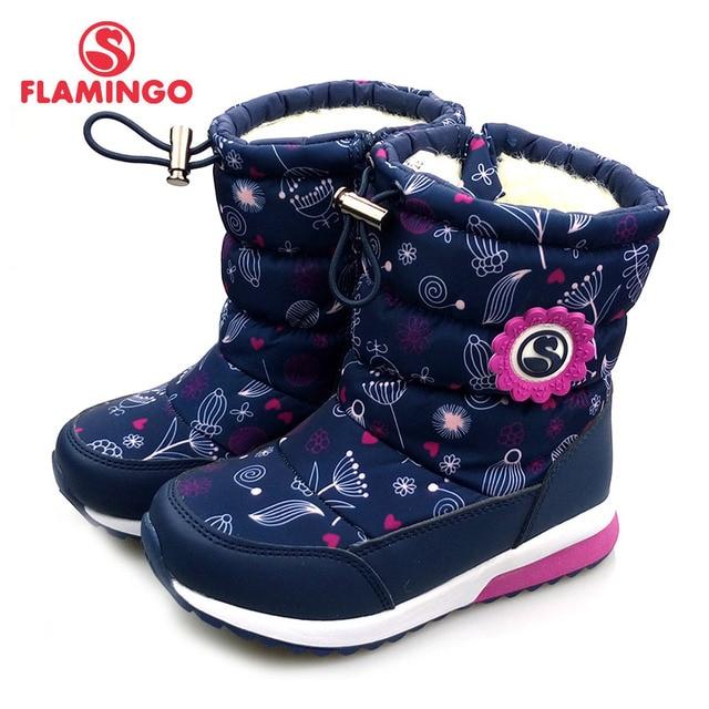 Зимняя Нескользящая непромокаемая шерстяная теплая обувь высокого качества с изображением фламинго, Размеры 25-30, детские зимние сапоги, бесплатная доставка, 82D-NQ-1030