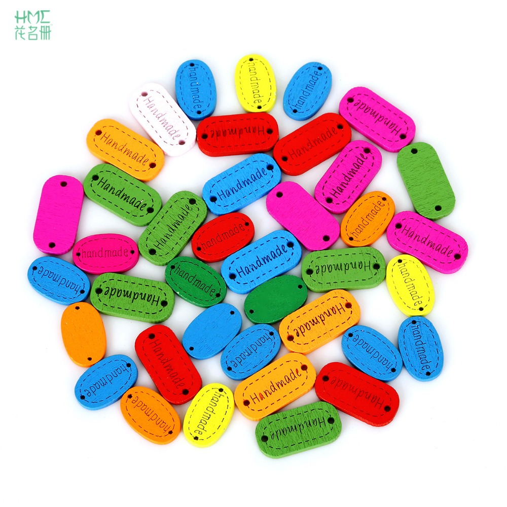 50pcs/bag Oval Mixed Color 2 holes Wooden Buttons Handmade Letter Carved Craft And Scrapbooking Decoration Buttons