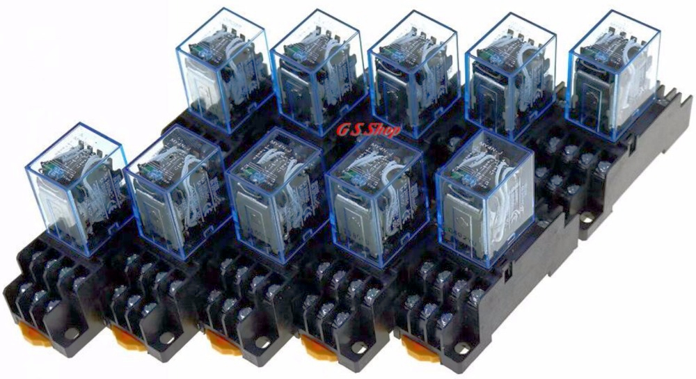 10PCS MY4NJ DC12V AC12V DC24V AC24V Coil 5A 4NO 4NC Green LED Indicator Power Relay DIN Rail 14 Pin time relay with socket base 1set my4nj dc 12v coil 4no 4nc green led indicator power relay din rail 14 pin base mini relay