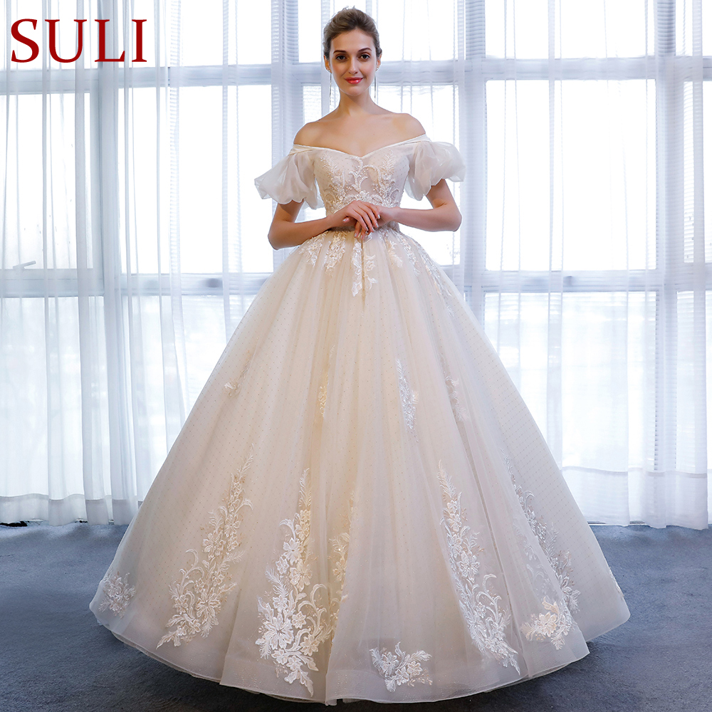 SL 162 A Line Short Sleeve Lace Beads Beach Plus Size Wedding Dress 2018