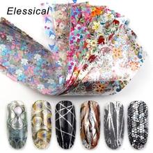 Elessical 18Pcs 4*20cm holographic Nail Foil transfer Set Decal For Nails Stickers flowers Mix Design Nail art Decoration wraps