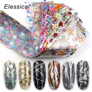 Image 1 - Elessical 18Pcs 4*20cm holographic Nail Foil transfer Set Decal For Nails Stickers flowers Mix Design Nail art Decoration wraps