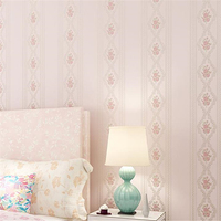 Non Wovens Embossed Stereo 3D Romantic European Pastoral Vertical Striped Living Room Bedroom TV Background Wallpaper