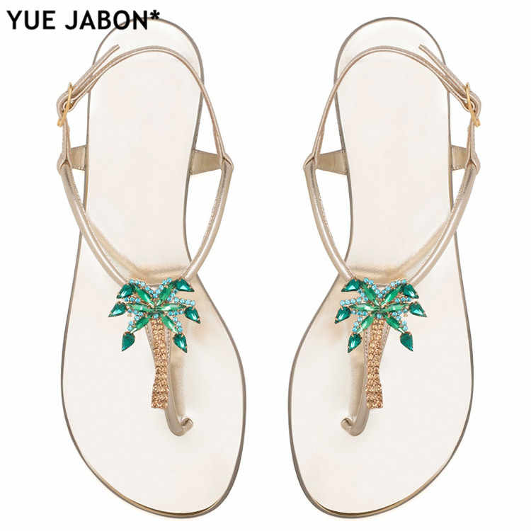 6369072f0 Flat Heel Flip-flop sandal Shoes for Women Rhinestones Fashion Back Straps Flat  Sandals Summer