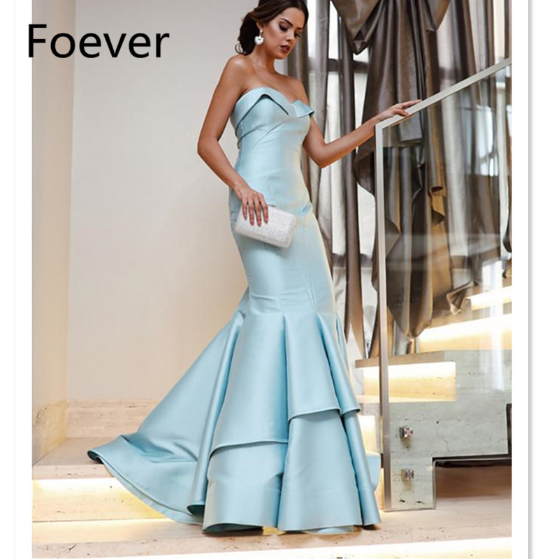 Simple Elegant Baby Blue Mermaid Prom Gowns 2019 Long Ruffles Formal Party Evening Dresses Lace Up Plus Size Vestido Longo