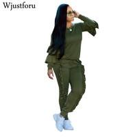 Wjustforu Plus Size Two Piece Sets Women Long Sleeve Ruffle Hoodies Tops Long Pants Suit Sweatsuits