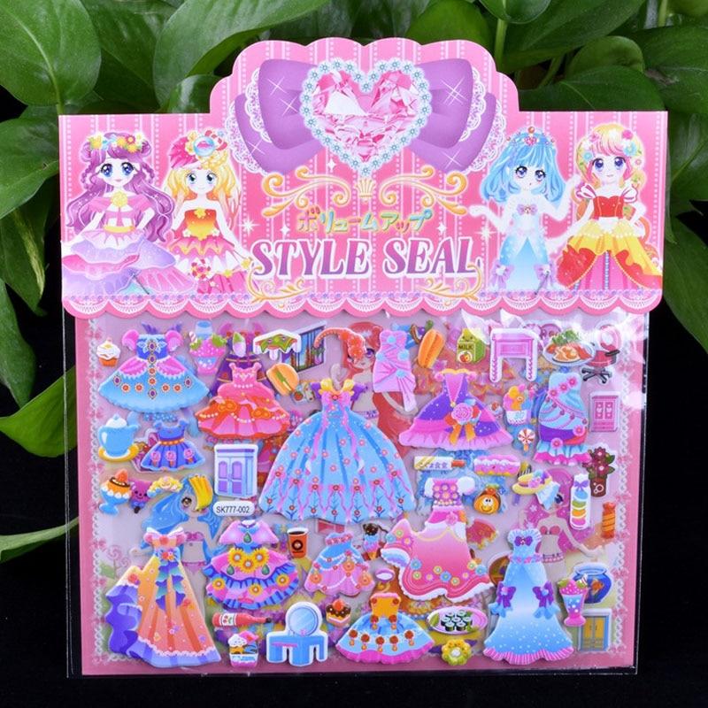 1pcs DIY Double Layer Cute Mermaid/Princess Dress Up Sticker For Diary Phone Laptop Book Kids Anime Kawaii Stickers Girl Toys