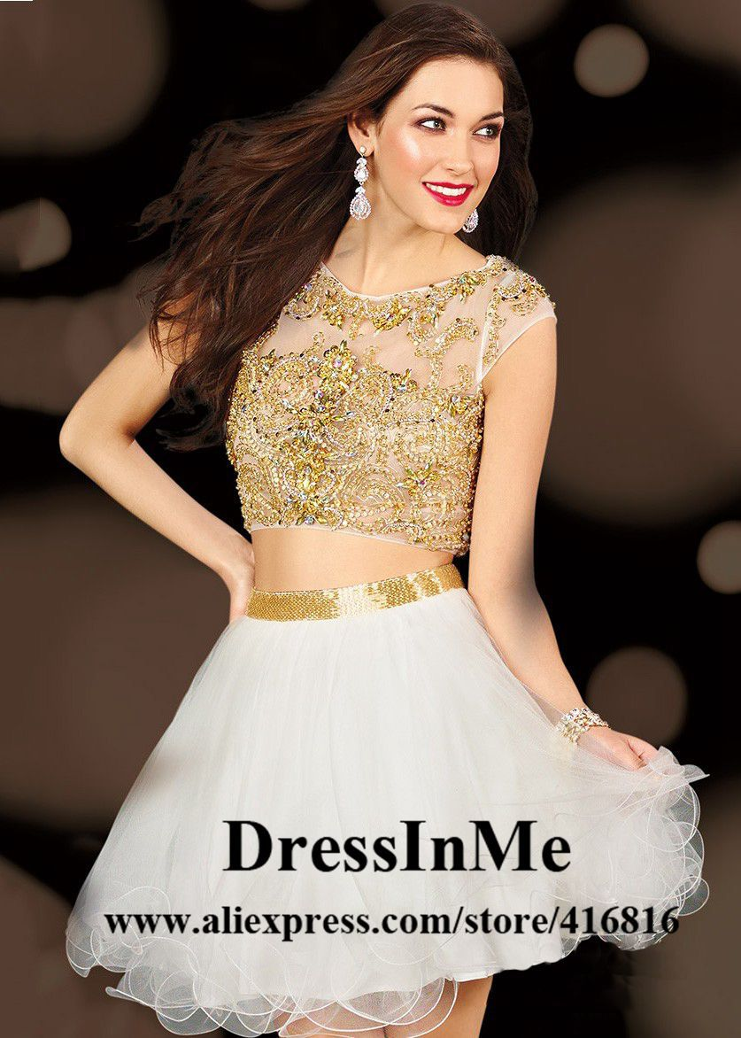 Online Buy Wholesale white and gold cocktail dress from China ...