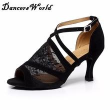 Latin Dance Shoes For Women 8.5cm High Heel Soft Sole Satin Black Shoes For Zapatos De Baile Rumba Lady Ballroom Dance Shoe 1107