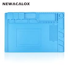 NEWACALOX 1 unid de 45×30 cm Almohadilla de Silicona Aislamiento de Calor Escritorio Magnética de Sílice Plataforma de Mantenimiento Para BGA Estación de Soldadura reparación