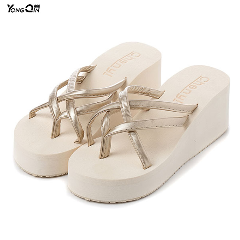 2016 Summer Women's Ultra High Heels Beach Slippers Fashion Wedges Platform Sandals Flip Flops Antiskid Women Shoes e toy word summer platform wedges women sandals antiskid high heels shoes string beads open toe female slippers