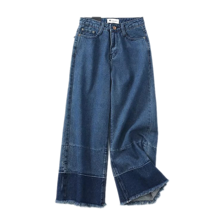 2017 women fall straight jeans trousers and retro shades of color hair fringed wide leg pants nine