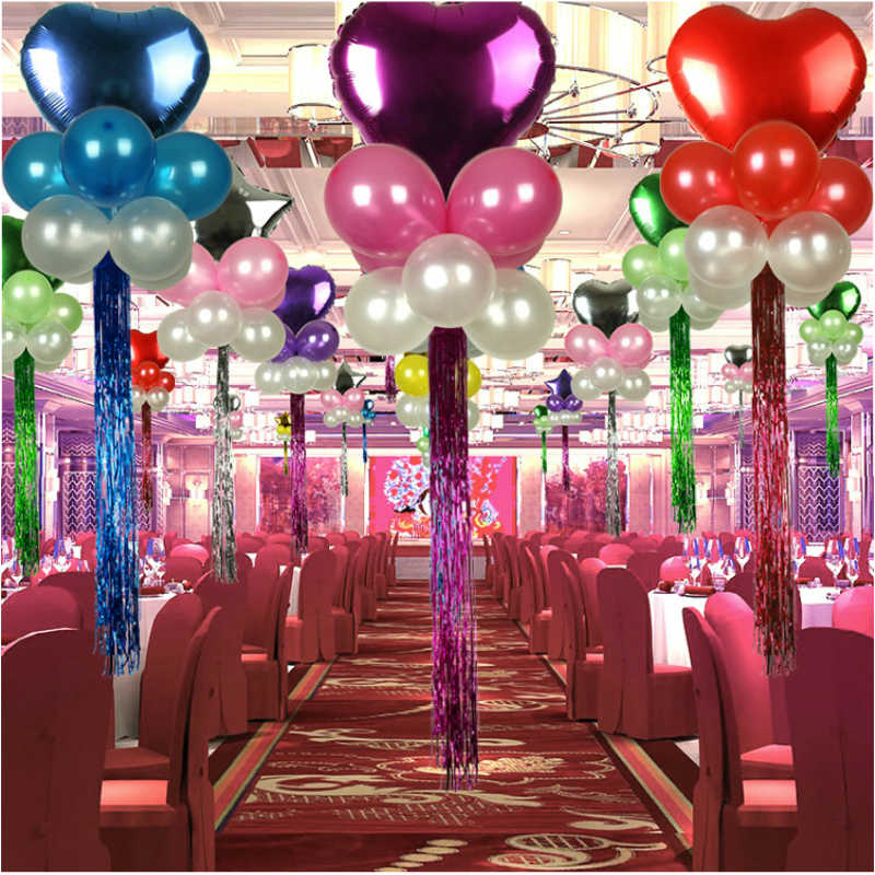 Papel de aluminio metálico boda decoración telón de fondo globos accesorios de papel flecos cortina brillante fiesta de cumpleaños decoración