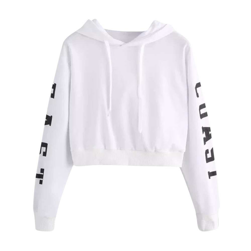 Women autumn Sweatshirts Letters Long Sleeve Hoodie Sweatshirt Pullover Tops moletom bts kpop