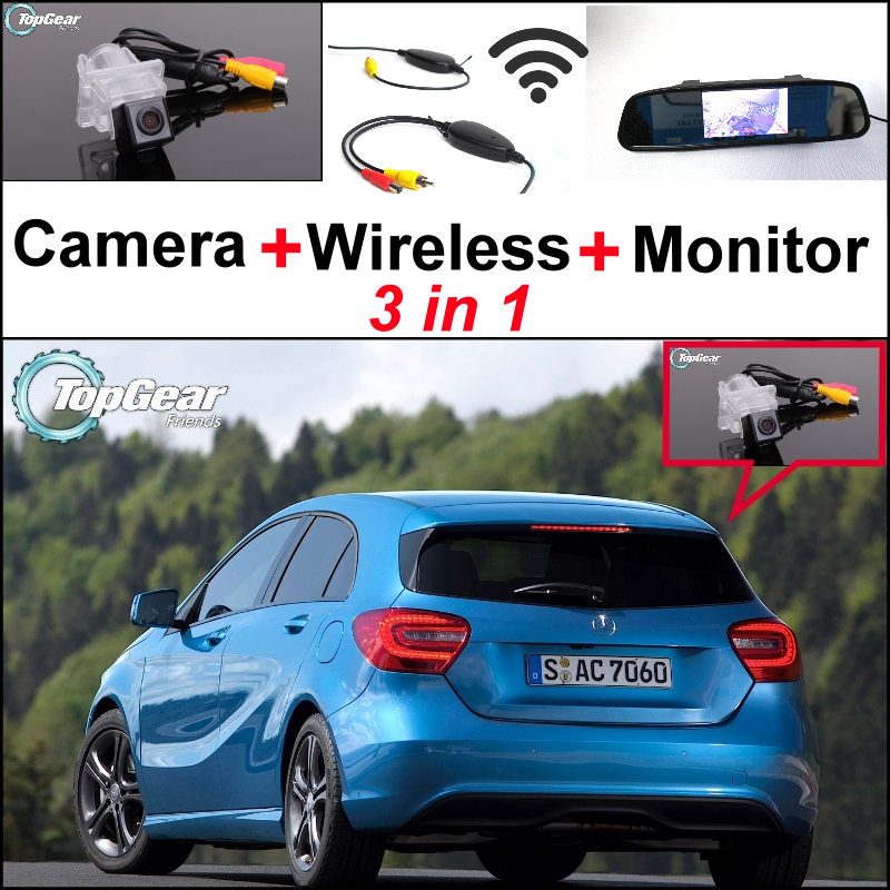 3in1 Special WiFi Back Up Camera + Wireless Receiver + Mirror Screen Rear View Parking System For Mercedes Benz A MB W176 liislee for mercedes benz cl mb w216 cls w218 special camera wireless receiver mirror screen 3in1 backup parking system
