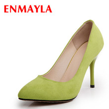 ENMAYER Flock Pointed Toe 2015 women pumps Black Red Blue / Light Green shoes fashion wedding Platform